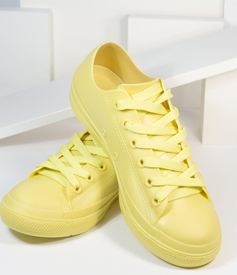 Yellow PVC Lace Up Sneakers