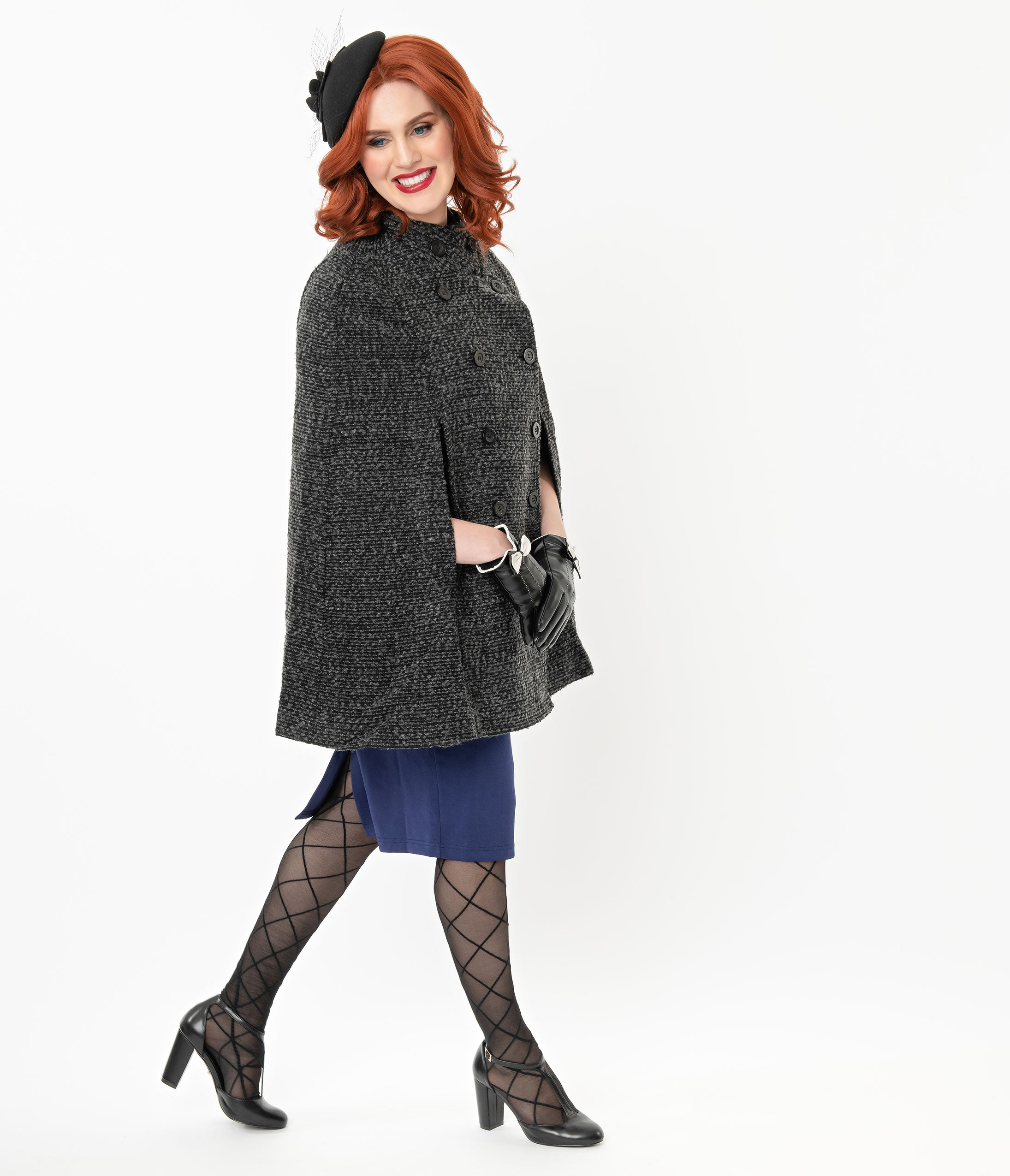 1940s Style Coats and Jackets for Sale Vintage Style Charcoal Woolen Cape Coat $88.00 AT vintagedancer.com