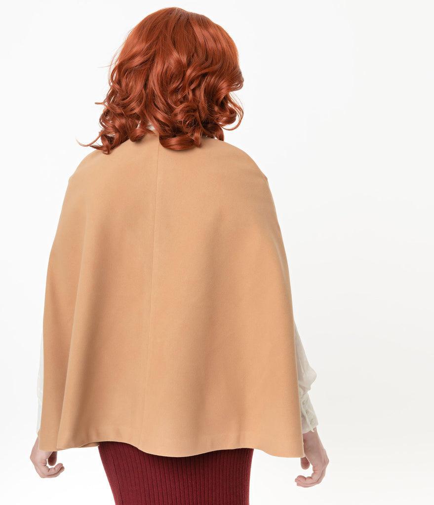 Vintage Style Camel Tan Cape Coat