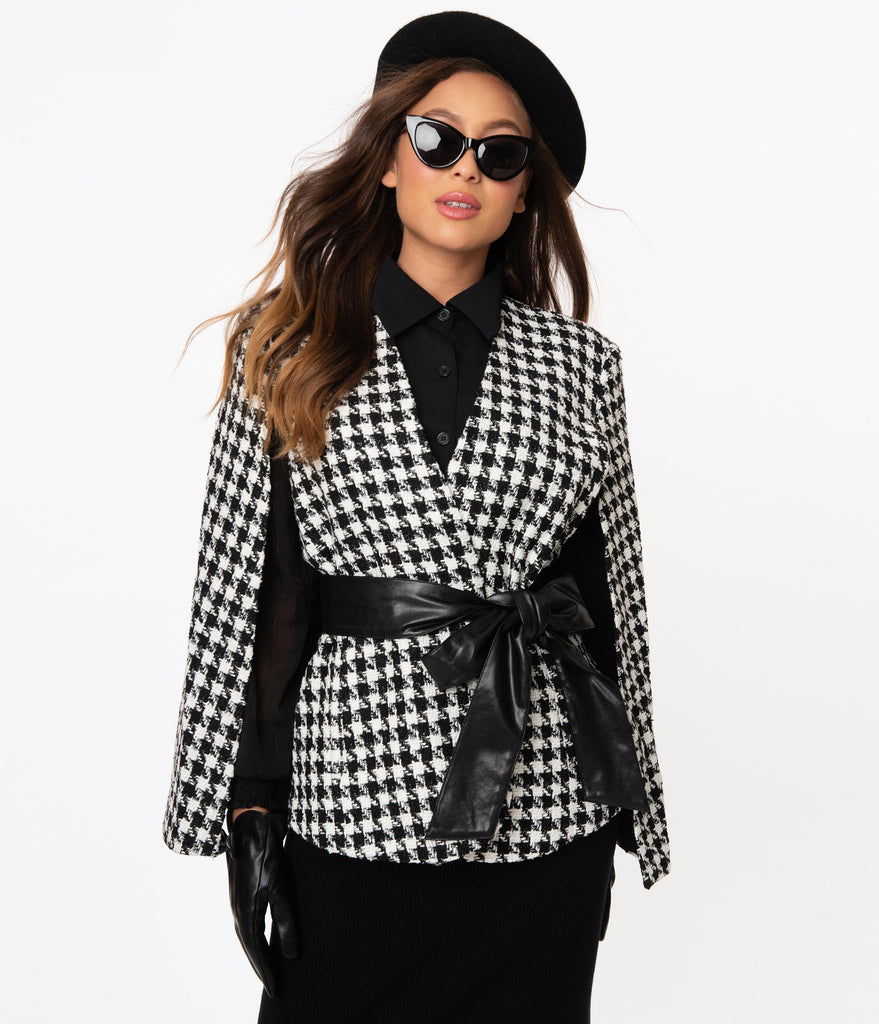 Black & White Houndstooth Sparkle Cape Jacket