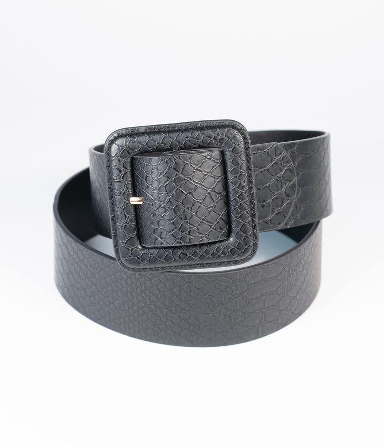 Black Reptile Embossed Leatherette Square Buckle Belt