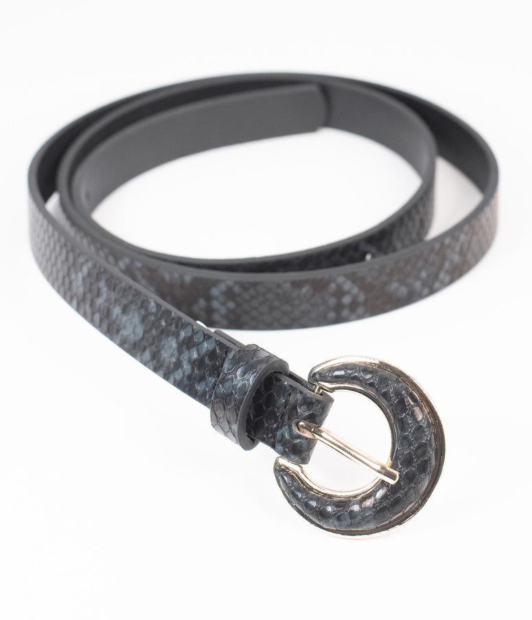 Black & Grey Snakeskin Embossed Leatherette Belt