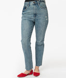 Pistola Distressed Blue Denim Wash High Rise Jean