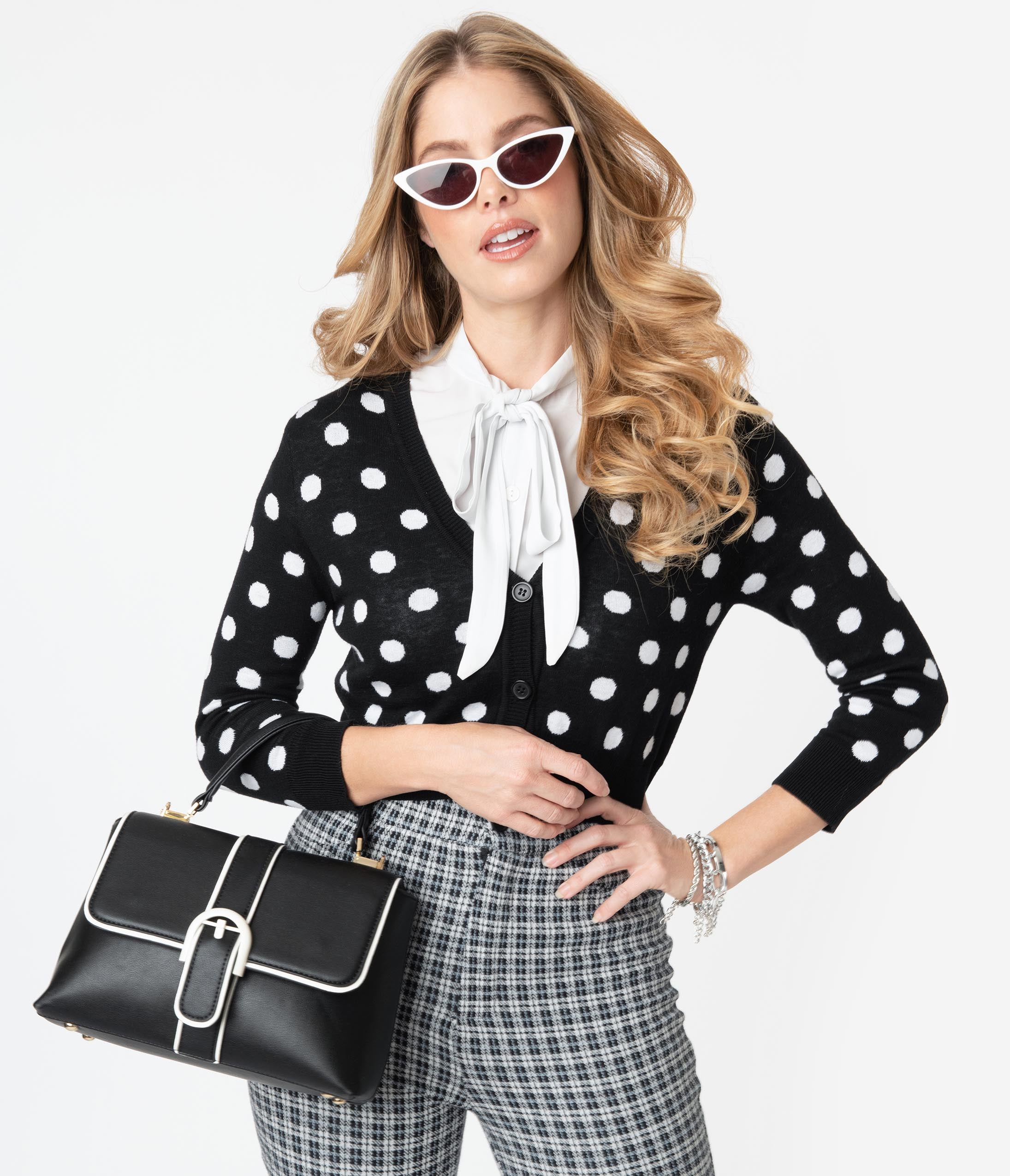 Vintage Sweaters, Retro Sweaters & Cardigan Black  White Polka Dot Crop Cardigan $36.00 AT vintagedancer.com