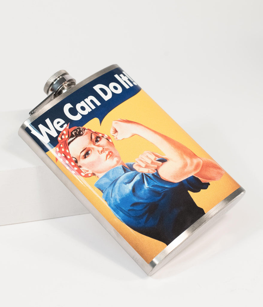 Stainless Steel Rosie The Riveter Hip Flask