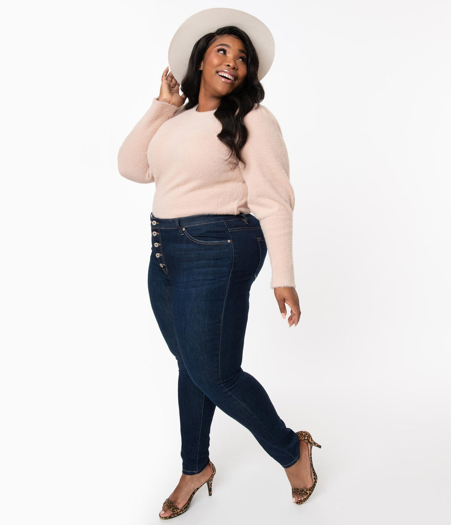 Plus Size Dark Denim Blue Button Up Jeans