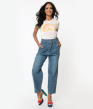Blue Denim High Waist Paperbag Cropped Jeans