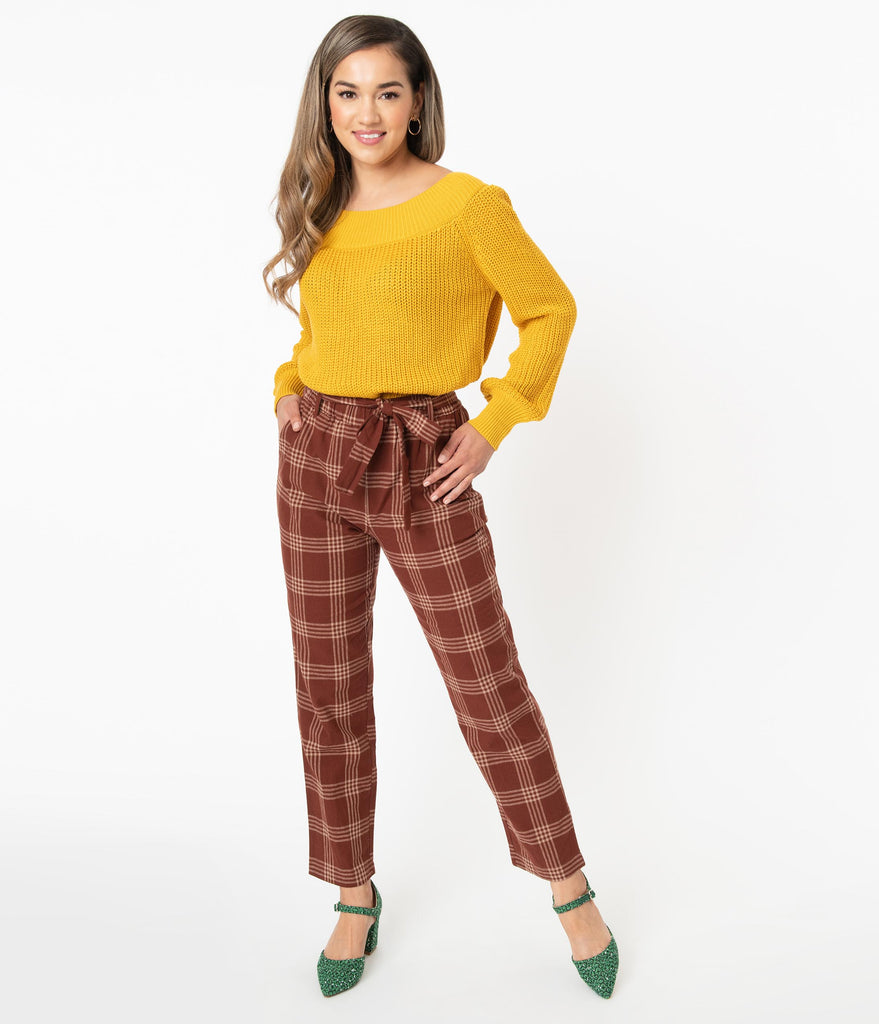 Brown & Tan Plaid High Waist Pants