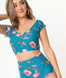 Teal & Pink Floral Off The Shoulder Swim Top