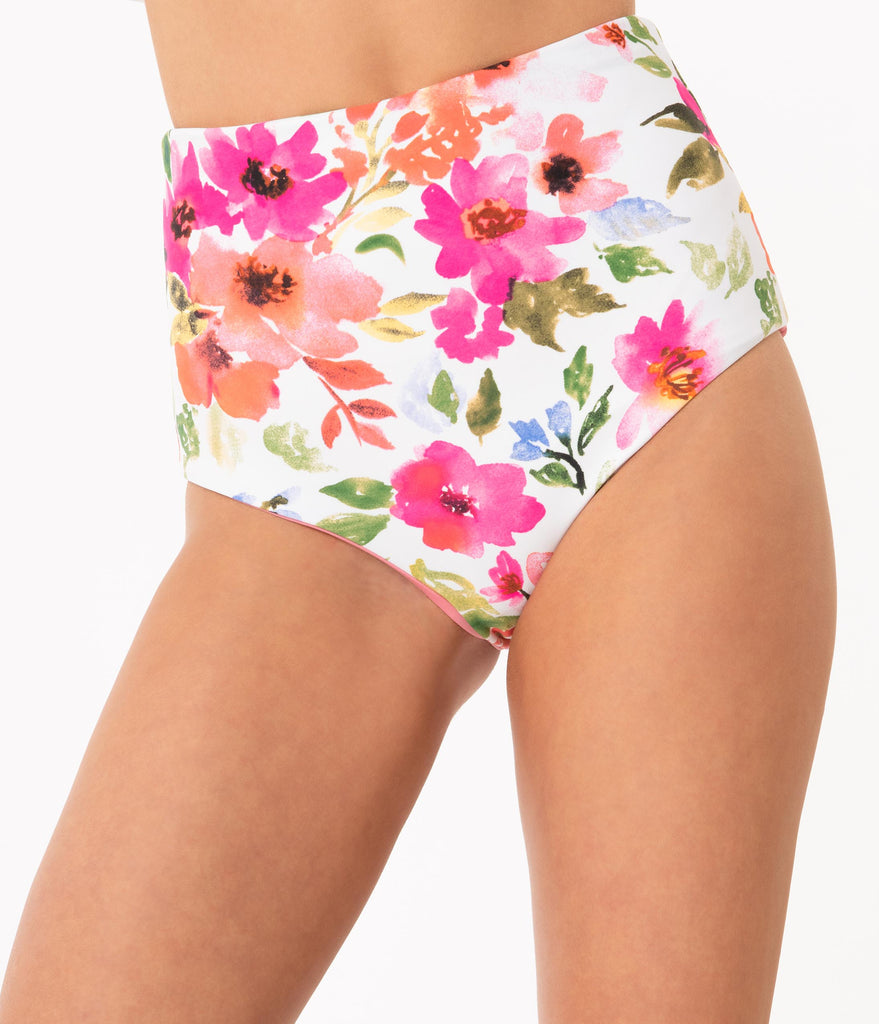 1950s Style White & Pink Floral Reversible High Waist Swim Bottom