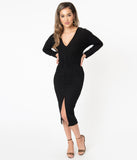 Retro Style Black Sweater Knit Wiggle Dress