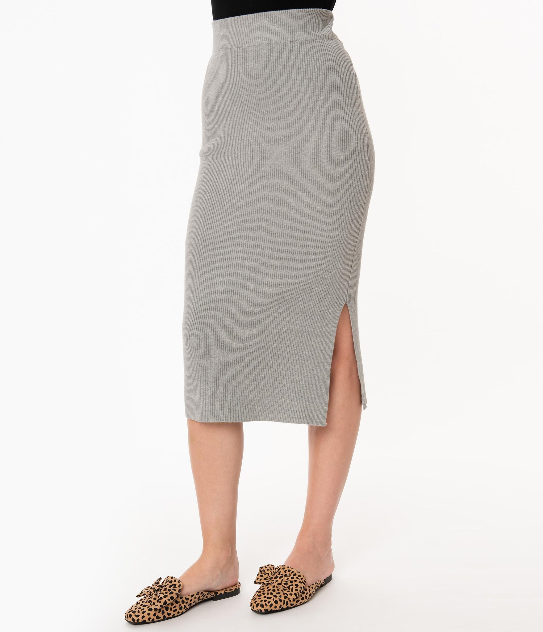 Heather Grey Knit Sweater Wiggle Skirt