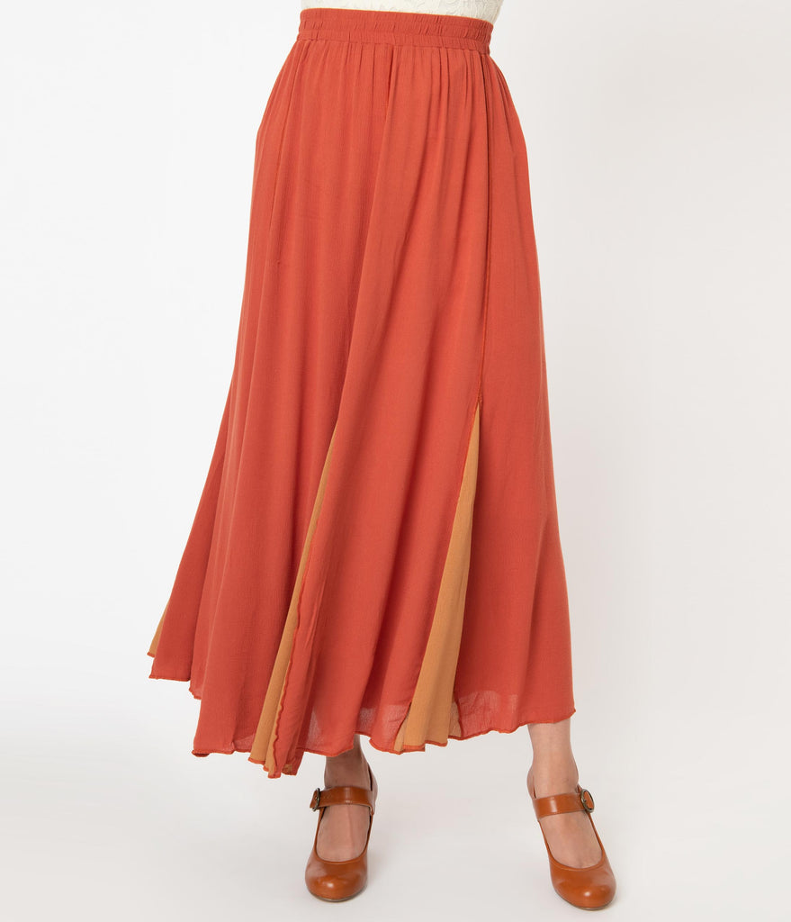 Rust Orange & Mustard Godet Maxi Skirt