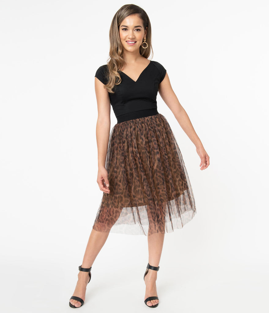 Leopard Print High Waist Mesh Skirt