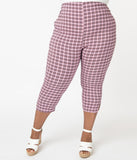 Unique Vintage Plus Size Pink & Black Plaid Rachelle Capri Pants