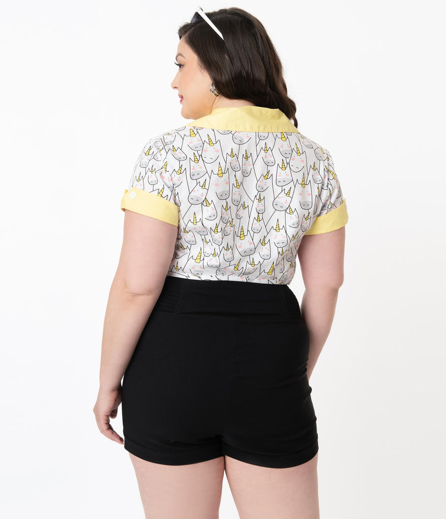 Unique Vintage Plus Size Black Nautical High Waist Sandy Shorts