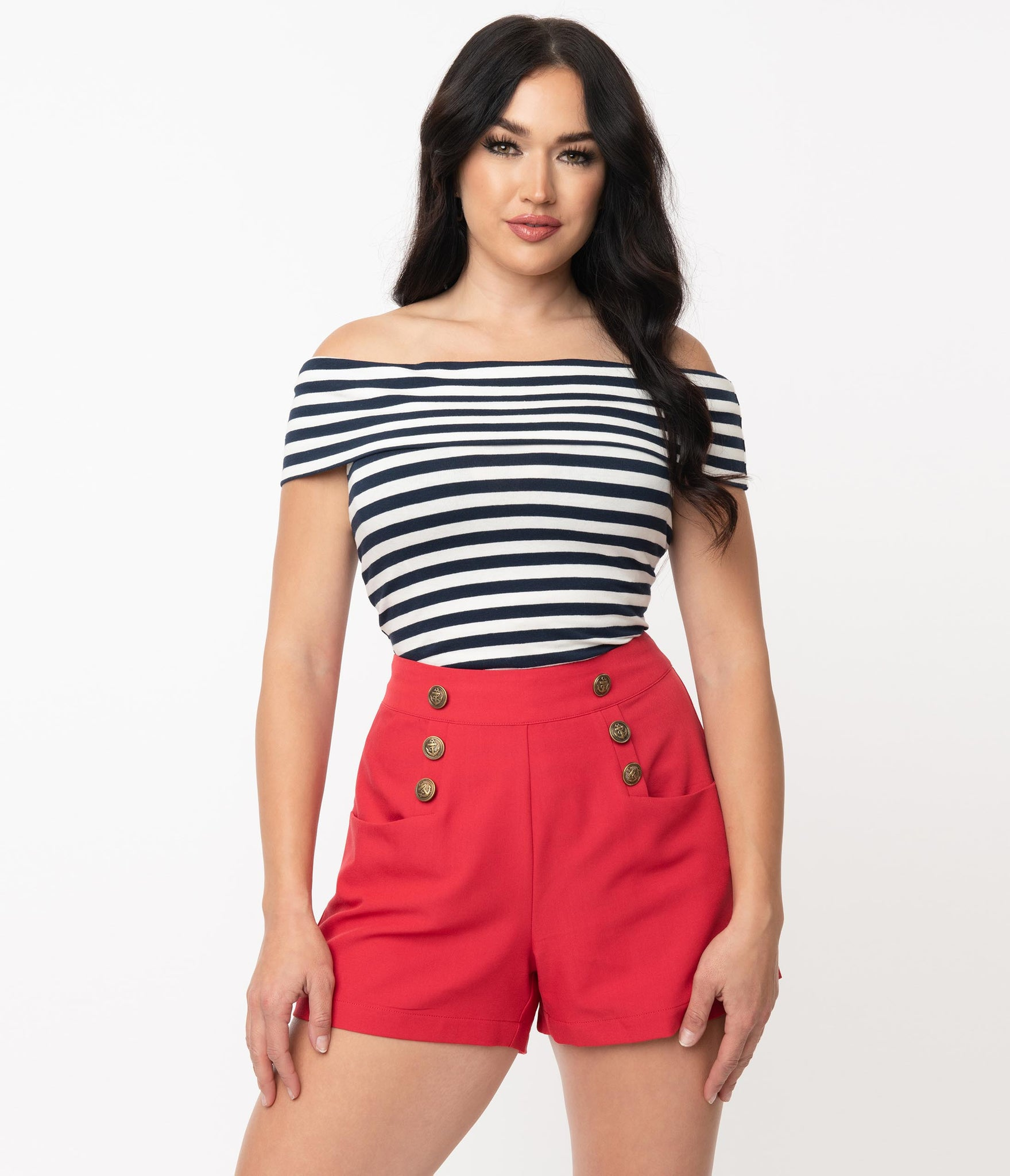 1940s Style Red High Waist Sailor Debbie Shorts