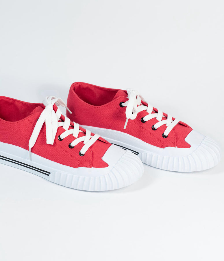 Red & White Lace Up Canvas Sneakers