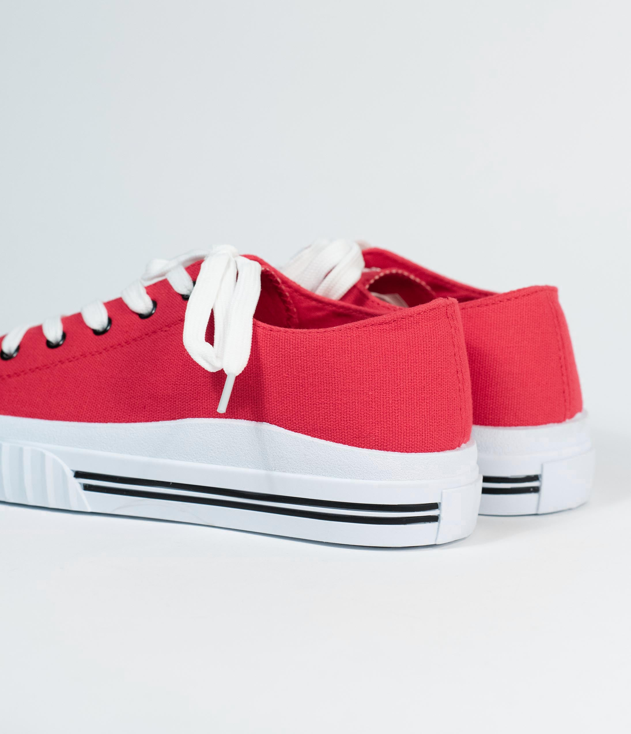 Red \u0026 White Lace Up Canvas Sneakers