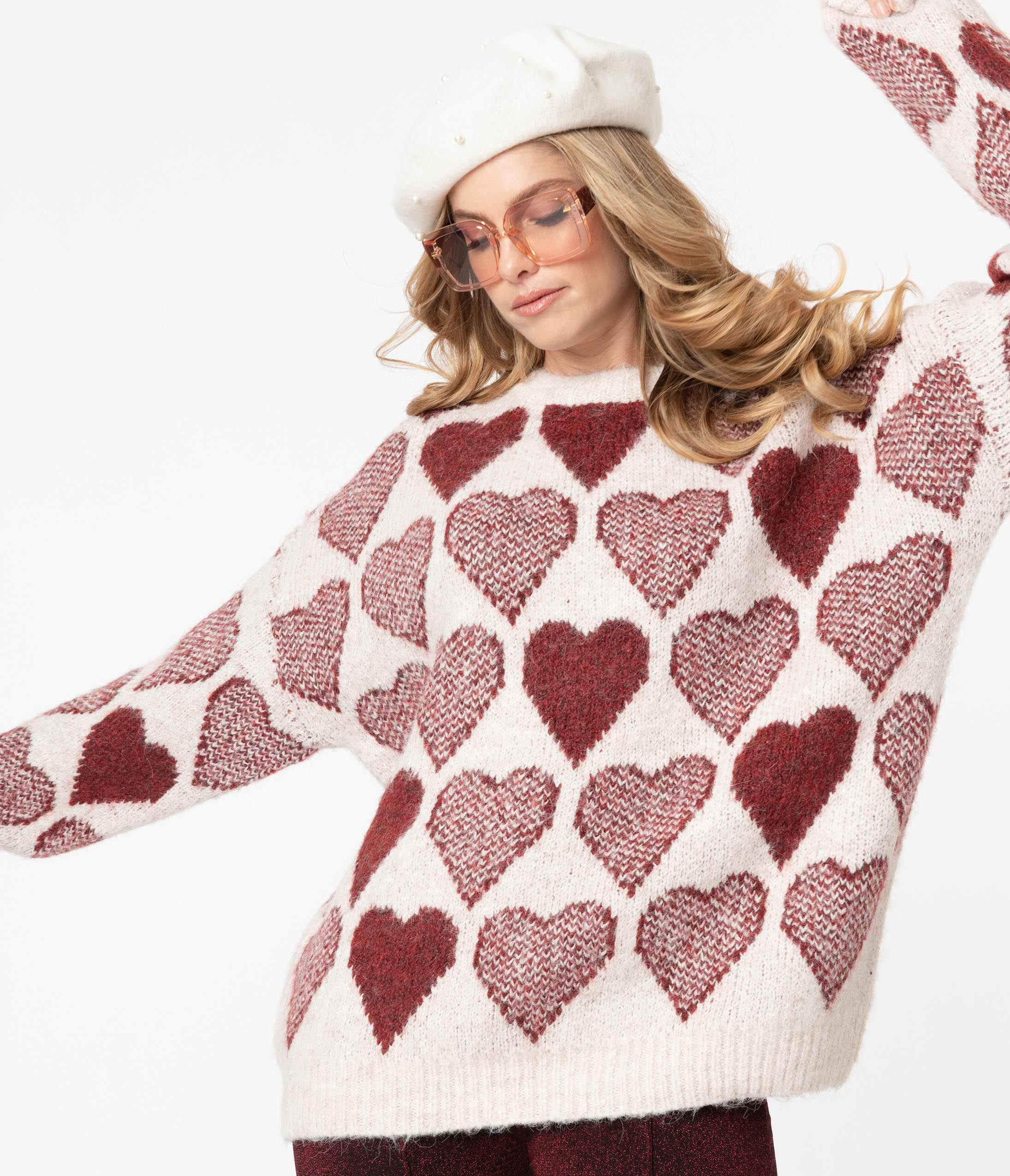 80s Sweatshirts and Sweaters Beige  Burgundy Heart Oversized Sweater $58.00 AT vintagedancer.com