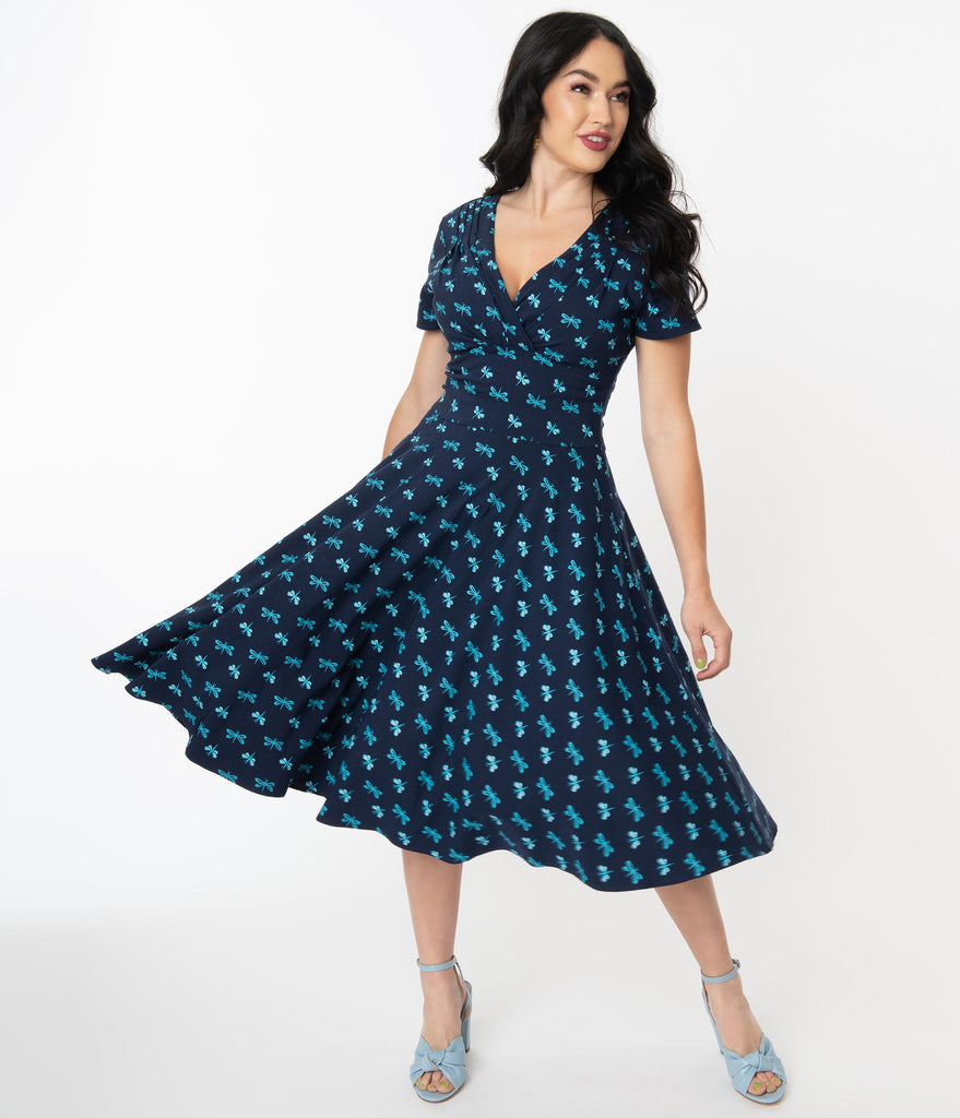 Unique Vintage Navy & Dragonfly Print Short Sleeve Delores Swing Dress