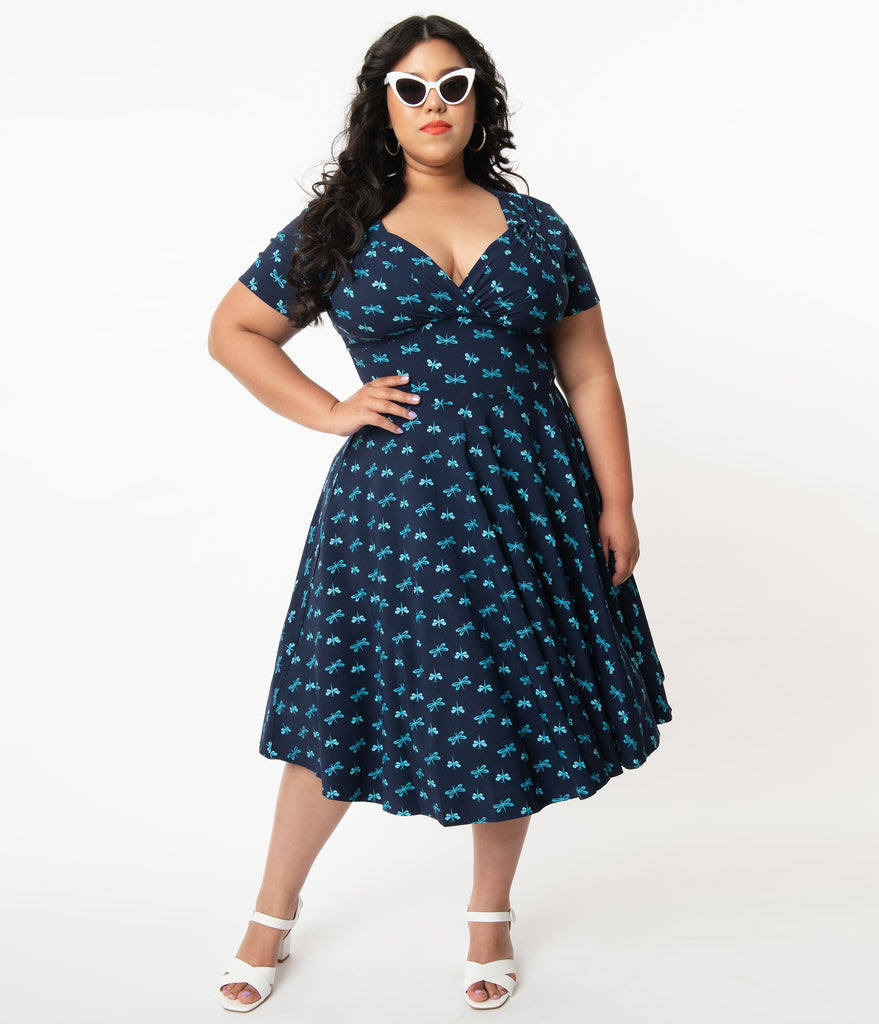 Unique Vintage Plus Size Navy & Dragonfly Print Short Sleeve Delores Swing Dress