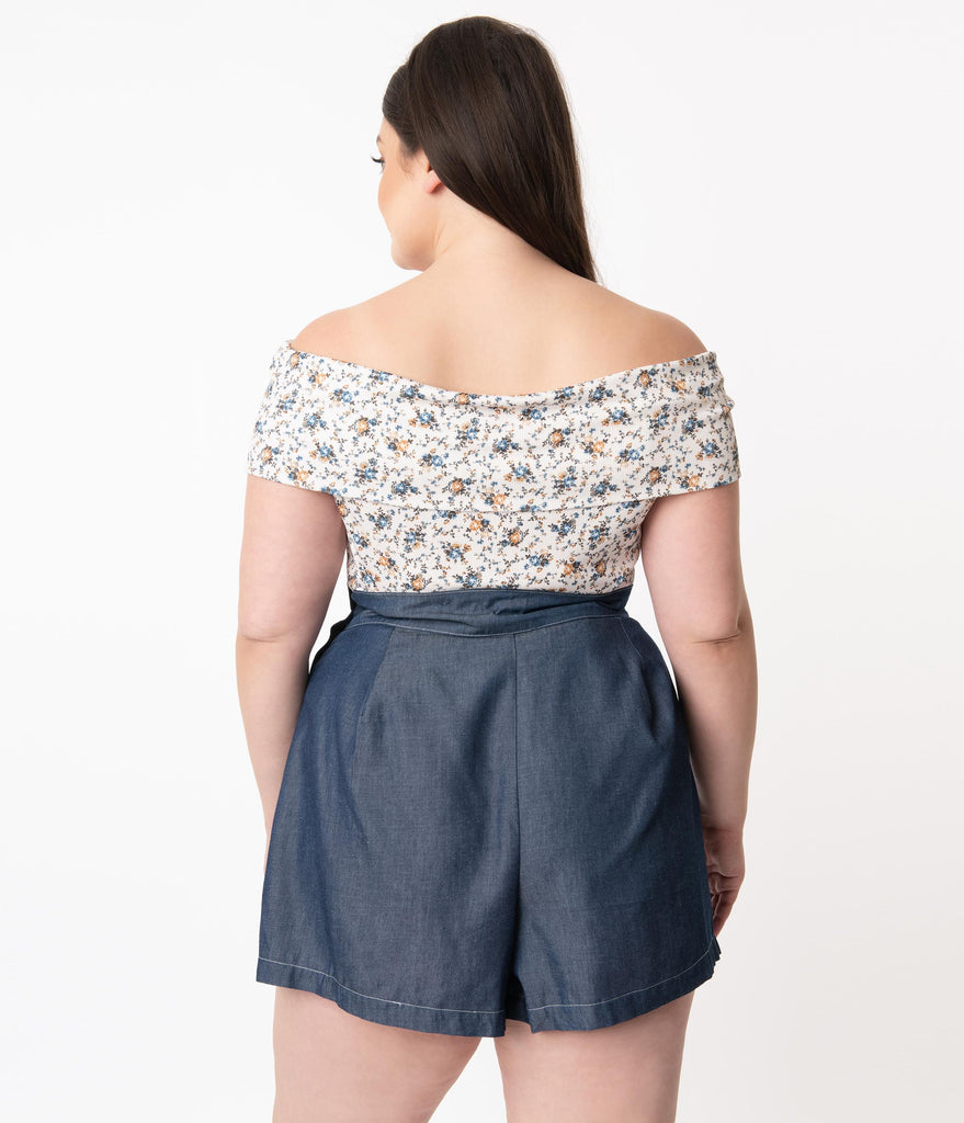 Unique Vintage Plus Size Ivory & Ditsy Floral Imogen Top