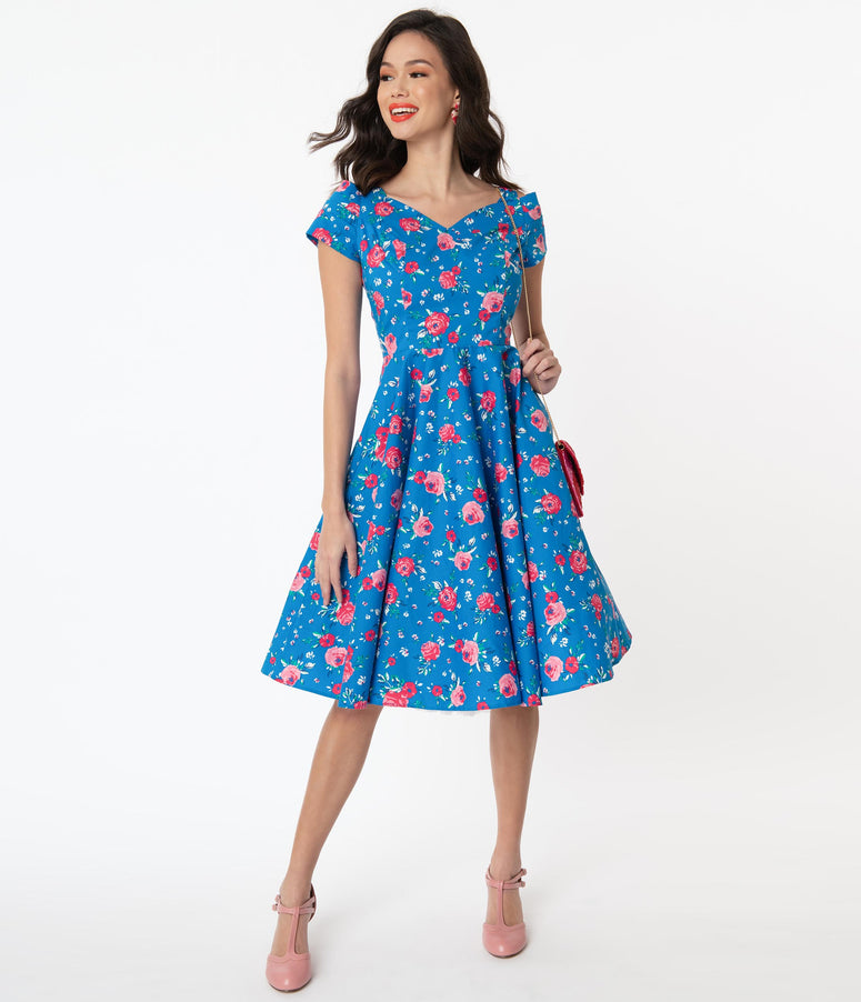 Hell Bunny 1950s Blue & Pink Floral Chantilly Swing Dress