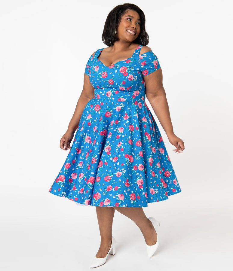 Hell Bunny Plus Size 1950s Blue & Pink Floral Chantilly Swing Dress