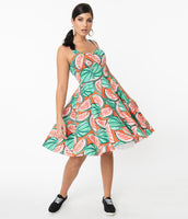 Cotton General Print Fitted Back Zipper Pocketed Gathered Smocked Sweetheart Swing-Skirt Dress