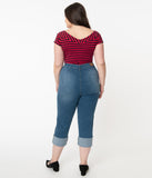 Hell Bunny Plus Size Blue Denim High Waist Austin Capri Jeans