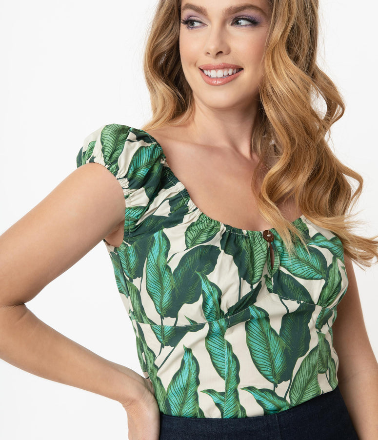 Hell Bunny Ivory & Green Rainforest Print Blouse