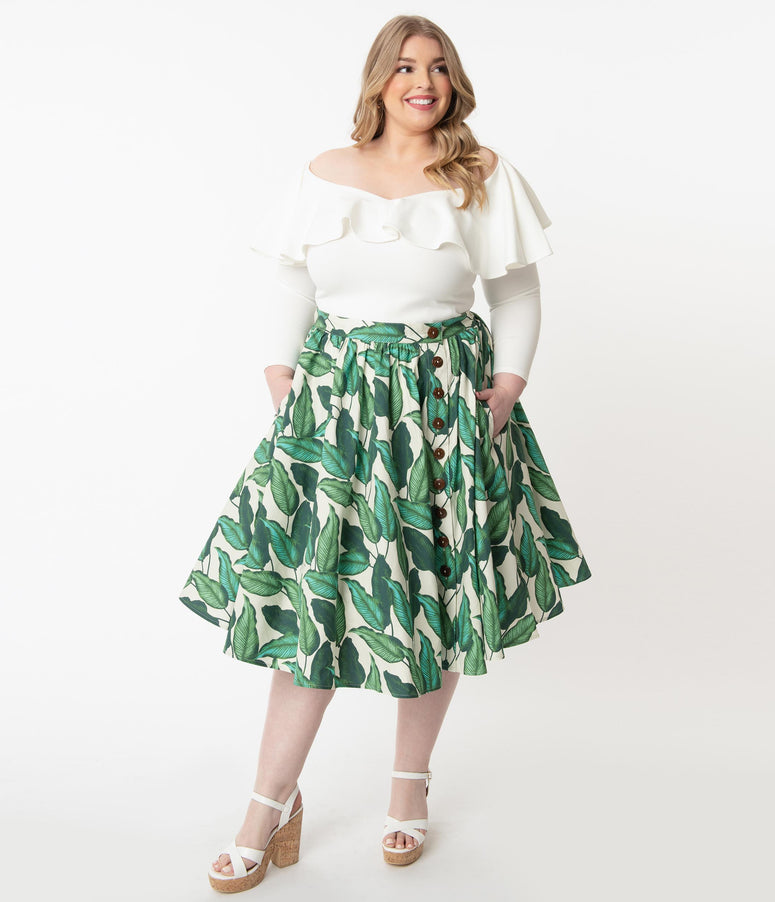 Hell Bunny Plus Size 1950s Ivory & Green Rainforest Swing Skirt