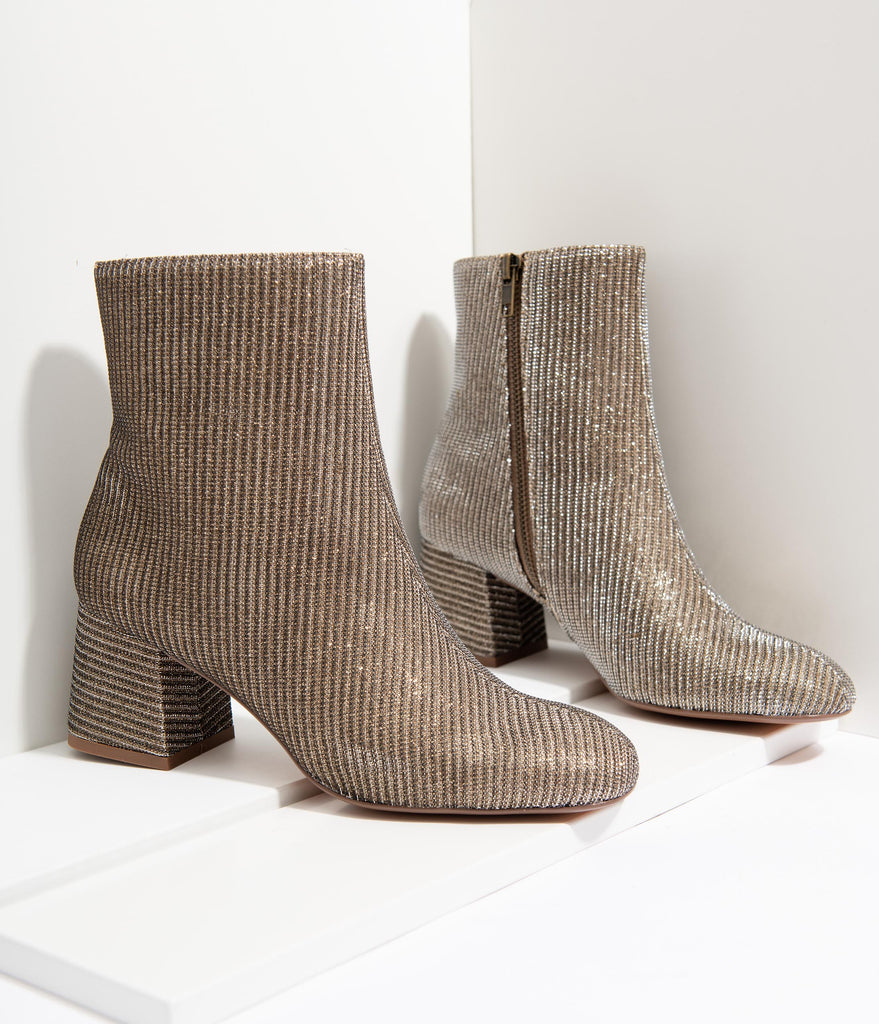 Chelsea Crew Gold Sparkle Marino Heeled Booties