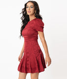 Burgundy Leopard Embossed Fit & Flare Dress