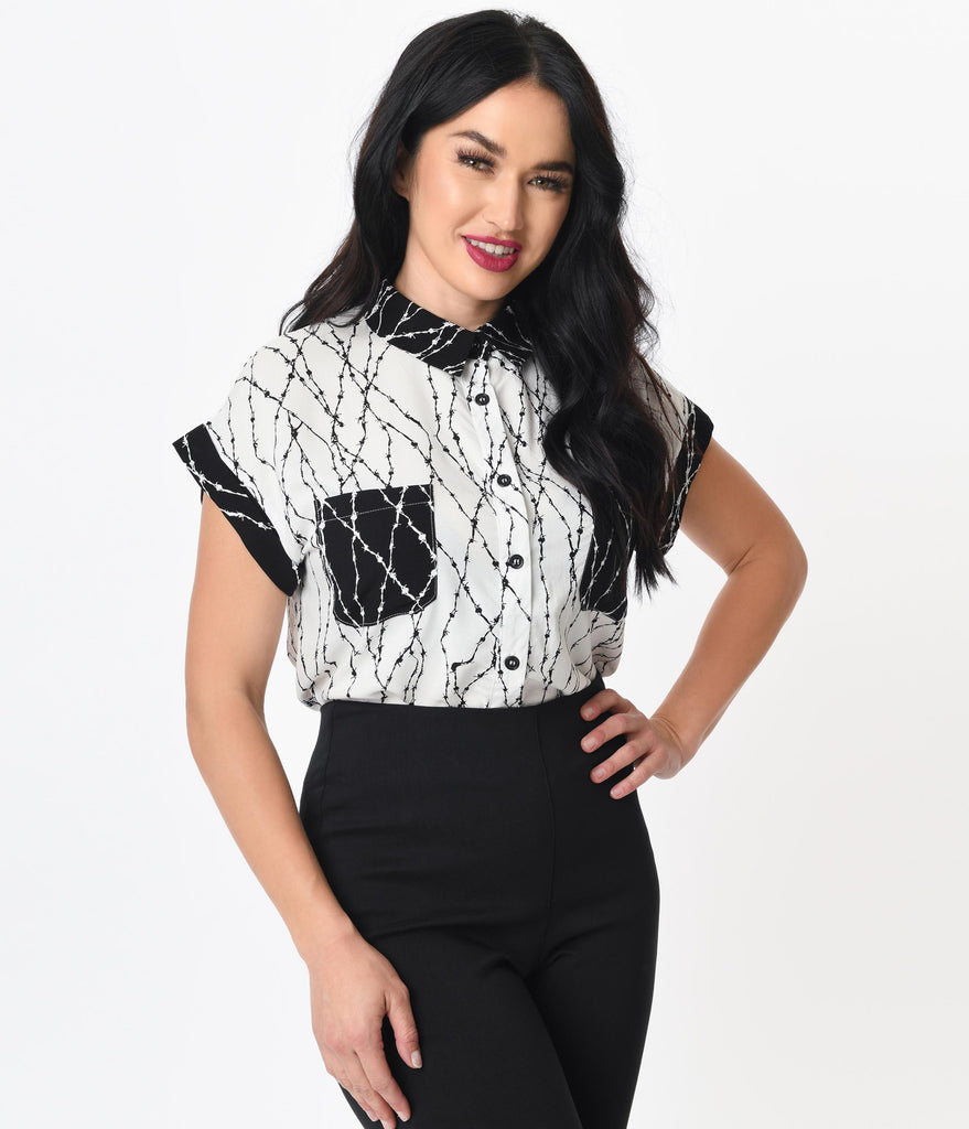 Hell Bunny Black & White Barbed Wire Print Blouse