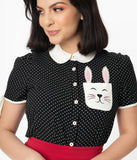 Hell Bunny 1950s Black & White Dot Bunny Miffy Blouse