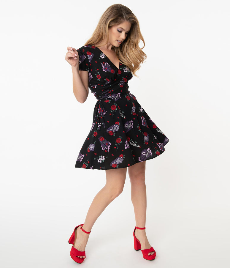 Hell Bunny Roses & Coffins Even In Death Print Flare Dress