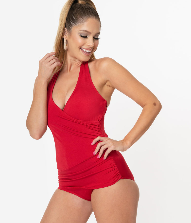 Esther Williams 1950s Red Ann Margaret One Piece Swimsuit
