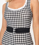 Esther Williams 1950s Black Gingham Peggy Sue One Piece Swimsuit