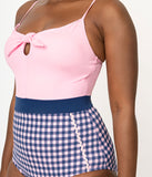 Esther Williams Pink & Navy Gingham Priscilla One Piece Swimsuit