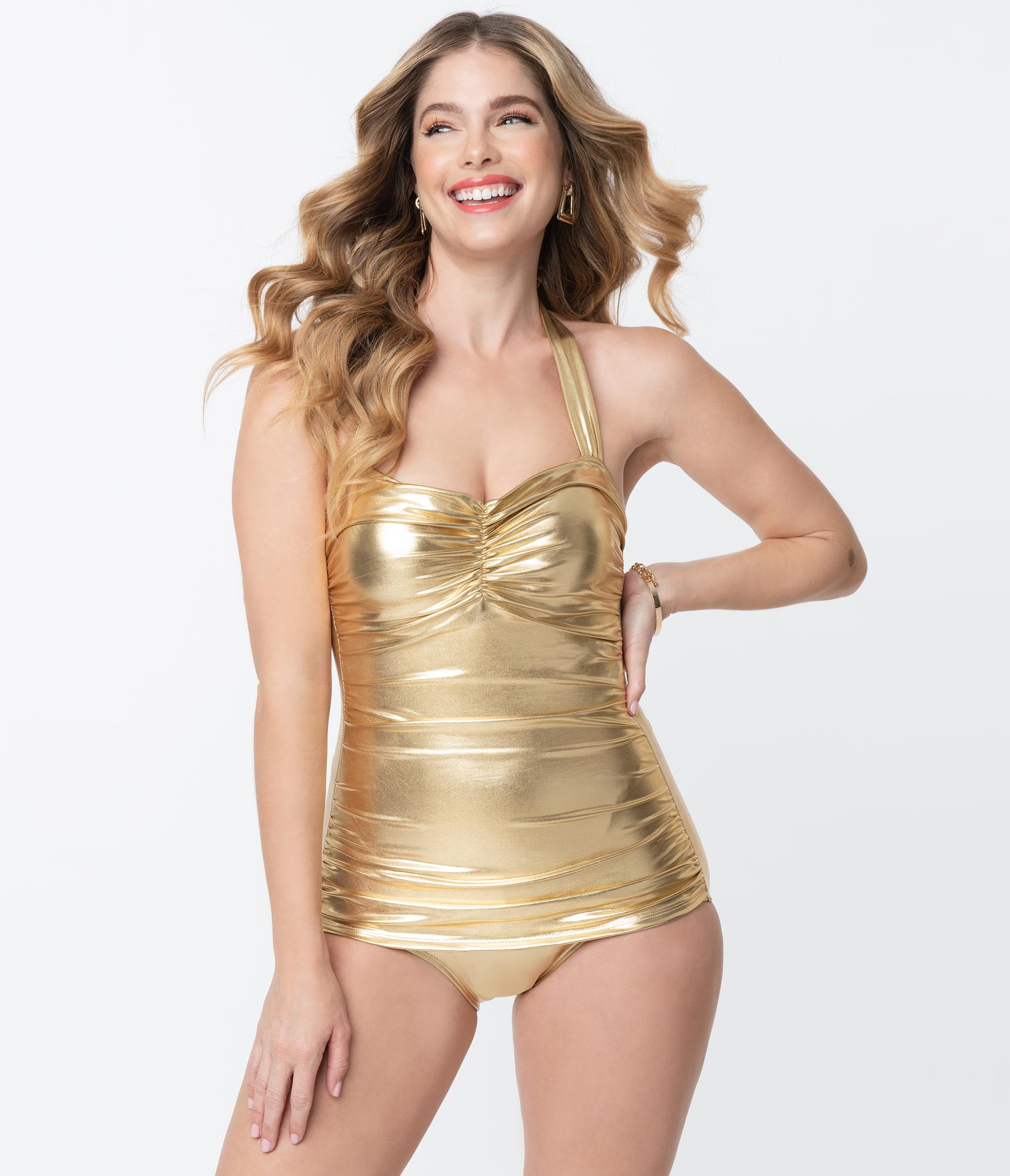 60s Swimsuits, 70s Bathing Suits | Retro Swimwear Esther Williams Vintage Style Gold Glitz Sheath Swimsuit $88.00 AT vintagedancer.com