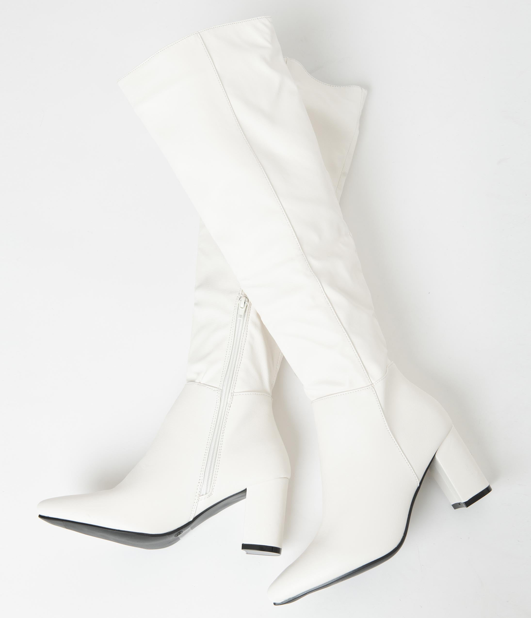 70s Shoes, Platforms, Boots, Heels | 1970s Shoes Retro Style White Leatherette Knee High Boots $68.00 AT vintagedancer.com