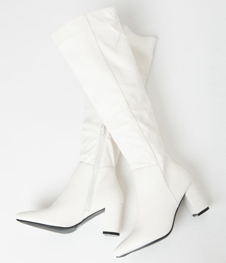 Retro Style White Leatherette Knee High Boots