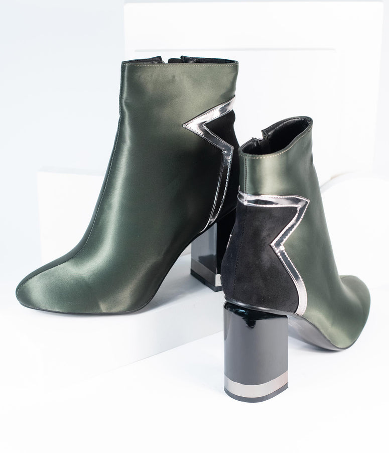 Olive & Black Movie Star Satin Bootie