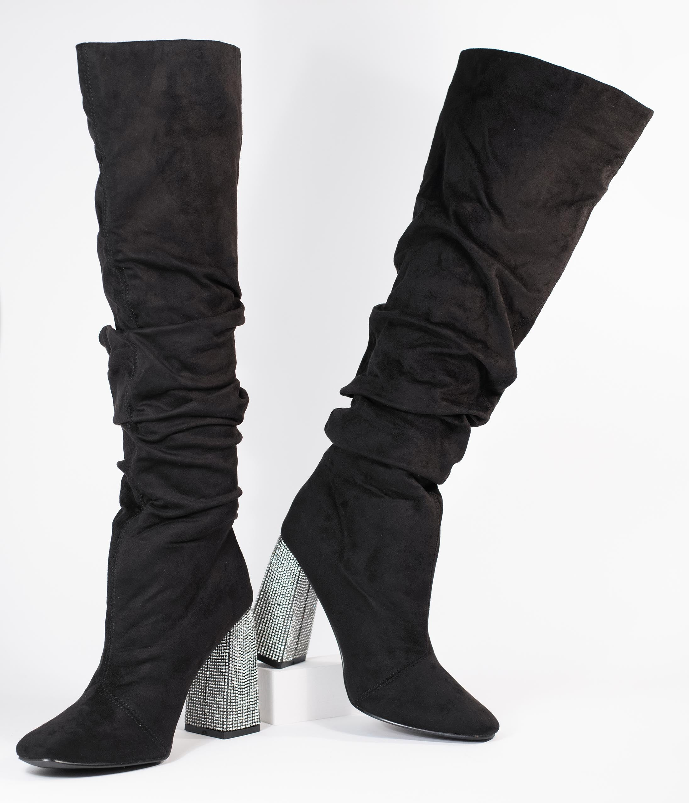 Vintage Boots, Retro Boots Black Suede  Rhinestone Slouchy Knee-High Boots $88.00 AT vintagedancer.com