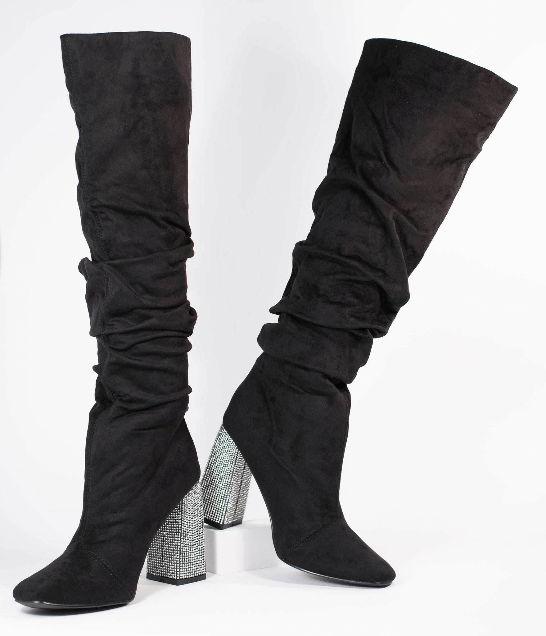 Black Suede & Rhinestone Slouchy Knee-High Boots
