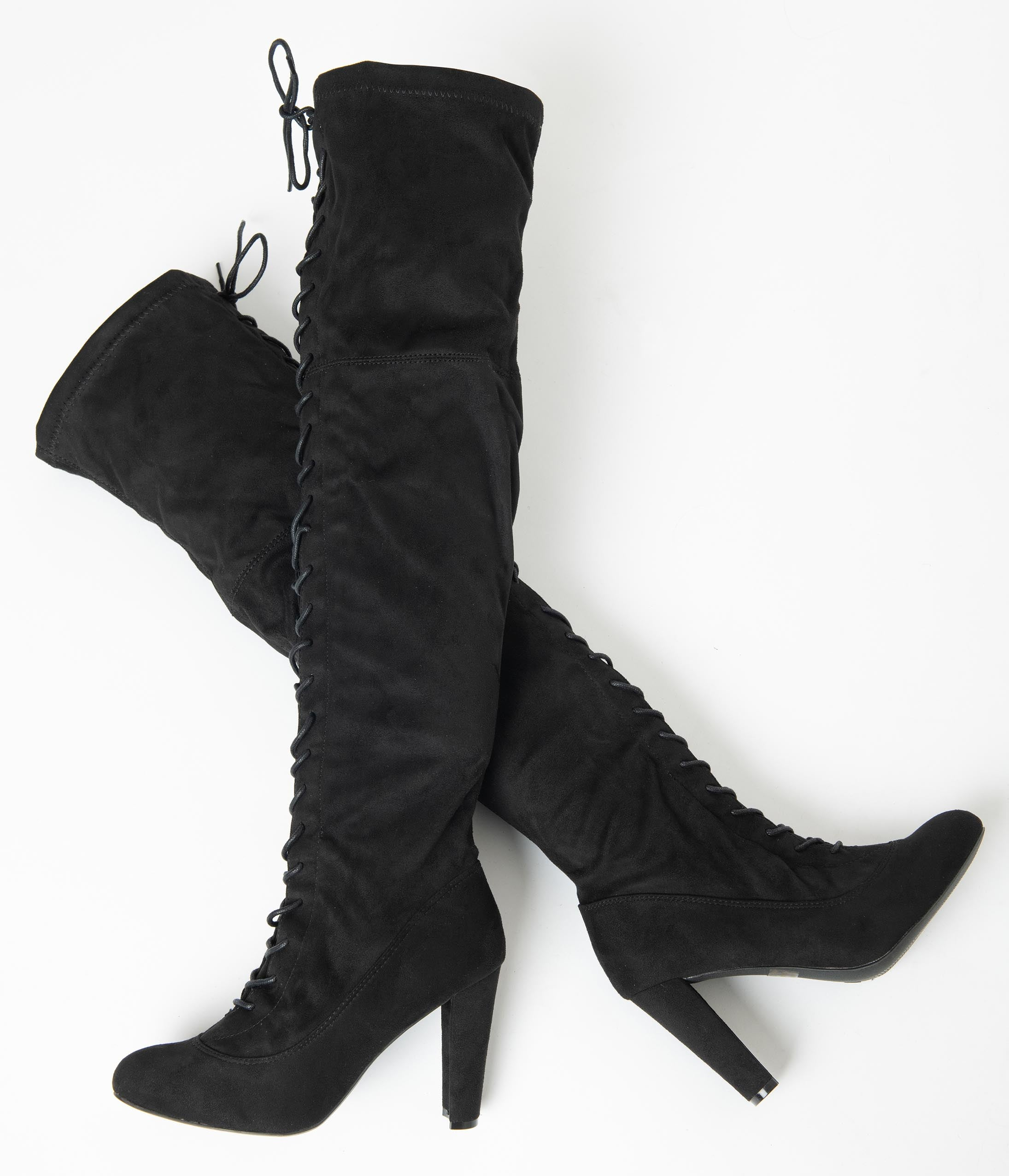 70s Shoes, Platforms, Boots, Heels | 1970s Shoes Black Suede Lace Up Knee High Boots $78.00 AT vintagedancer.com