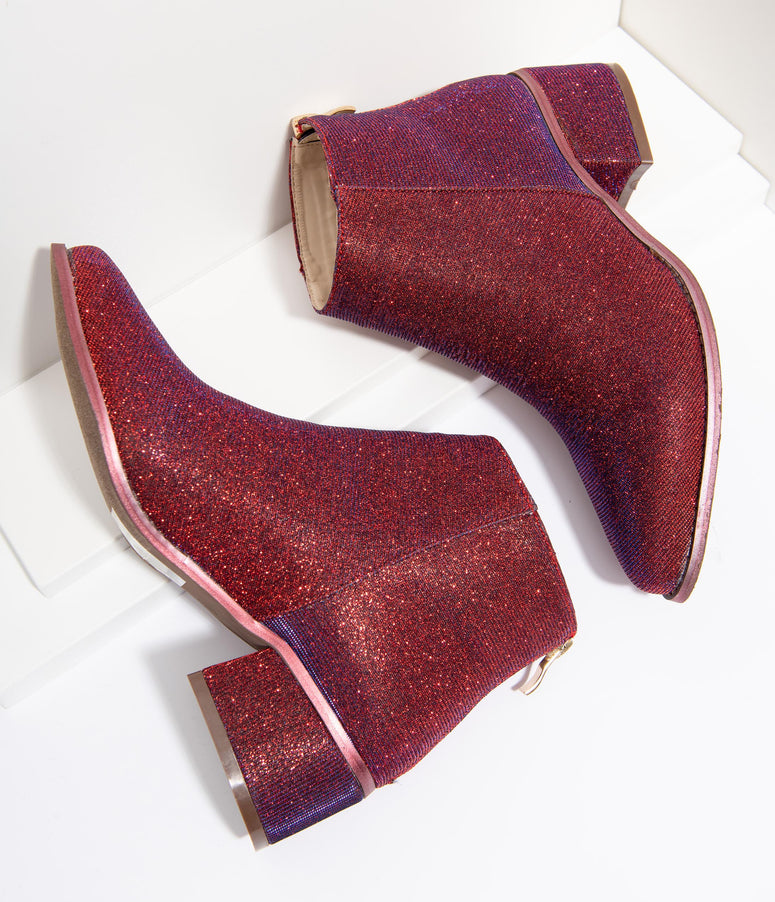 Iridescent Wine Sparkle Booties