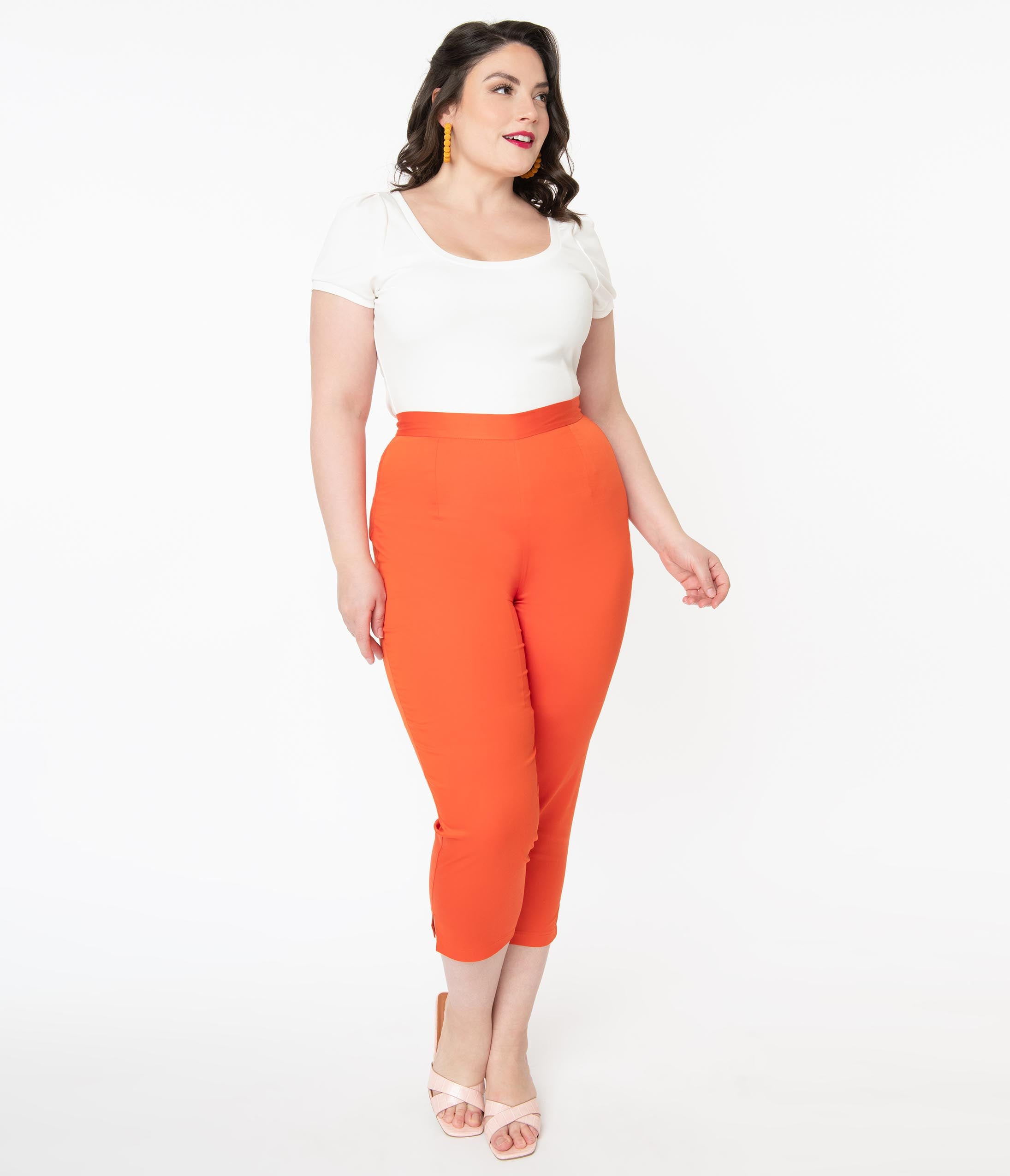 60s Mod Clothing Outfit Ideas Hell Bunny Plus Size 1960S Orange Helen Cigarette Pants $72.00 AT vintagedancer.com